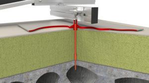 Zonnepanelen verankerd aan betondak van kanaalplaten en met isolatie